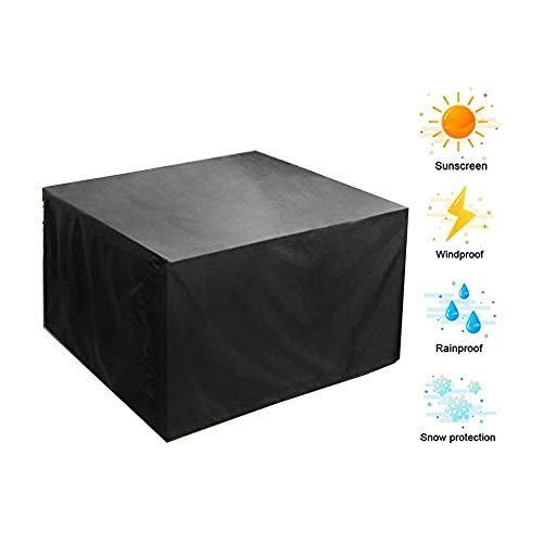 NINGWXQ Garden Furniture Cover Protection zeildoek van Patio Eettafel Waterproof winddicht Koord Design, 27 maten, 2 kleuren (Color : Black, Size : 80×80×80cm)
