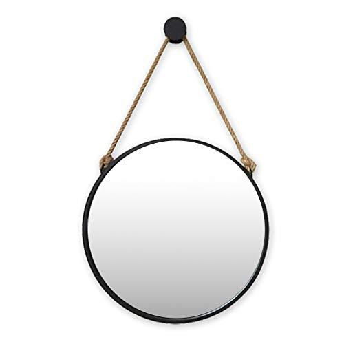 Cuerda de cáñamo Espejo Colgante Marco Negro Redondo Baño Maquillaje casero Espejo de Pared Decorativo Moda Creativa (40cm / 15.7Inch ~ 80cm / 31.4Inch