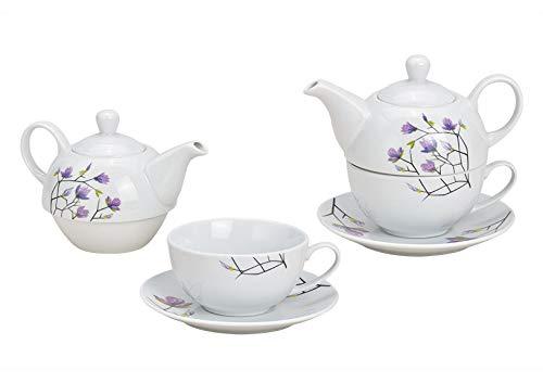 Tea for One Set mit Magnolien ( Kanne & Tasse & Untertasse )