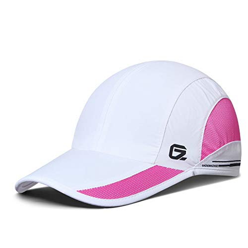GADIEMKENSD Quick Dry Sports Hat Lightweight Breathable Soft Outdoor Running Cap Runners Caps for Women (White)