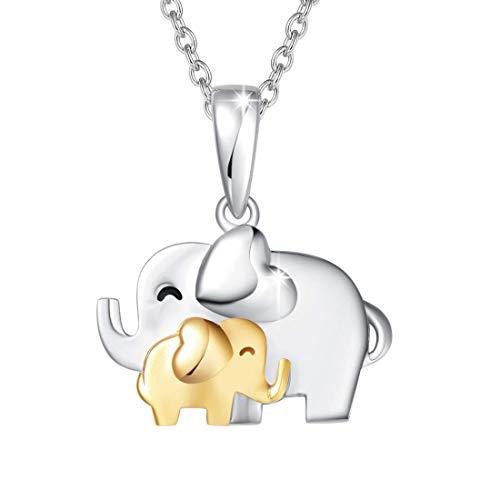 Mamá Te Amo - Elefante Colgante Collares de Plata de ley 925 con Cadena Regalo Joyería para Mujer - Longitud Cadena: 40 + 5 cm