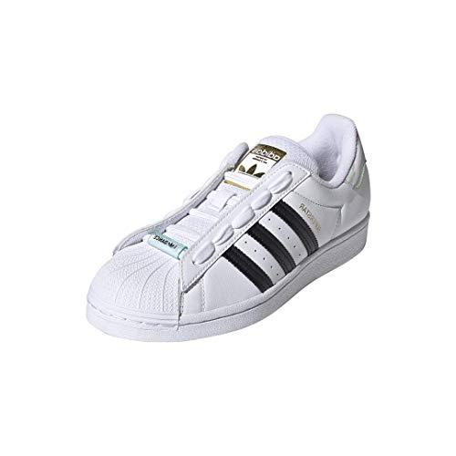 adidas Originals womens Superstar White/Black/Frozen Green 8