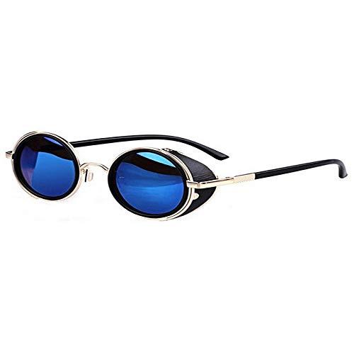 Fltaheroo Gafas de sol redondas estilo vintage de los años 80, color azul y dorado