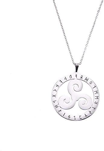 huangxuanchen co.,ltd Necklace Triskelion Nordic Runes Valknut T Necklace Women Men Talisman Amulet Stainless Steel Chain Necklaces Jewelry