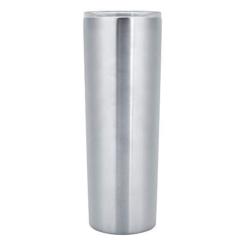 YIFengFurun Taza de café, taza de agua portátil de acero inoxidable 304 con tapa, para bebidas frías o calientes en casa, 20 onzas (plata)