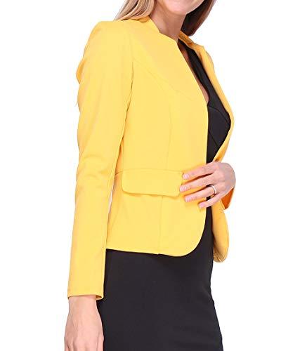 Revdelle – Chaqueta corta fabricada en Francia de manga larga para mujer, color rubio amarillo XL