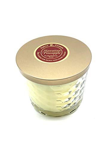 Circle E Hawaiian Pineapple Scented Jar Candle   Size 17oz   85 Hour Burn Time   2 Wicks   Wax Color Yellow   Glass Jar   Made in USA