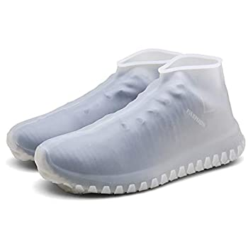 Silicone Waterproof Rain/Snow Overshoes Reusable Shoe Covers  Small White