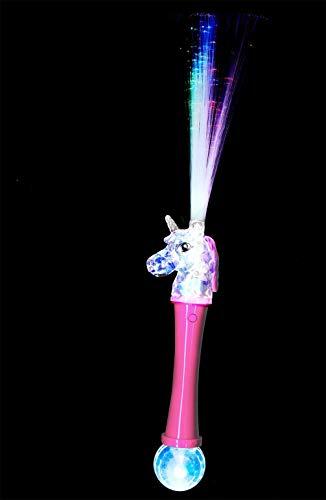 Smiffys 52221 Einhorn-Glasfaser-Zauberstab, beleuchtet, Unisex Kinder, rosa/blau, Einheitsgröße
