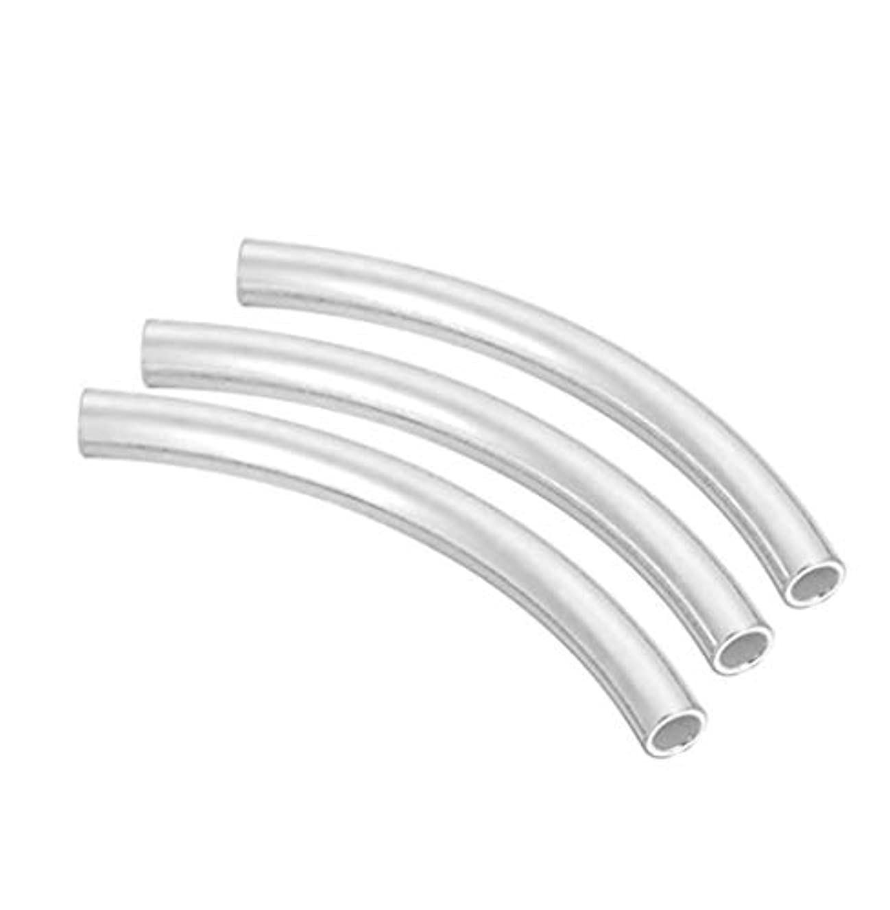 20pcs Sterling Silver Sleek Curved Noodle Tube Connector Beads 15mm x 1.5mm (~1.2mm Hole) SS214-BB