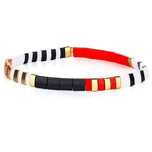 KANYEE Bracelets élastique Bracelets D'amitié Fait Main Bracelets Perlés Tila Bracelets Breloques De Mode pour Femme – 9J