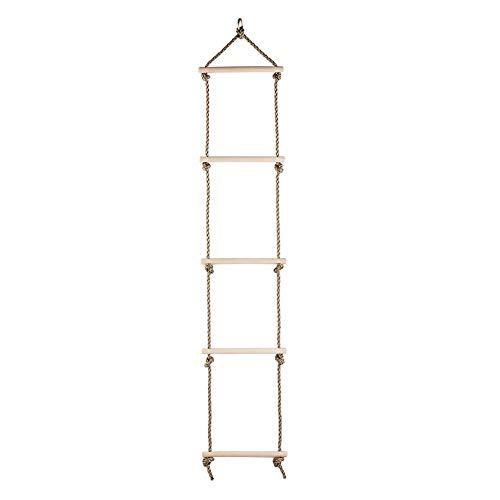 Kletter-Leiter Kinder Kletterturm Strickleiter mit 5 Holzsprossen Länge 190cm Schaukel Kletterset Outdoor Strickleiter für Kinder ab 3 Jahren
