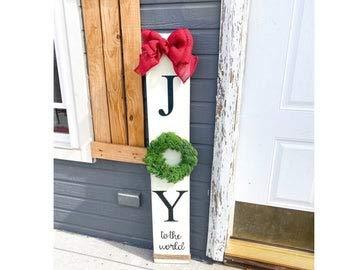 Cartel de Navidad vintage con corona de alegría rústica con lazo de arpillera y corona de Navidad verde