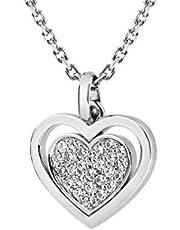 Tuscany Zilveren halsketting voor dames, sterling zilver, verstelbaar met zirkonia, 18 mm x 22 mm, hartvormige hanger 41 cm (16 inch) - 46 cm (18 inch)