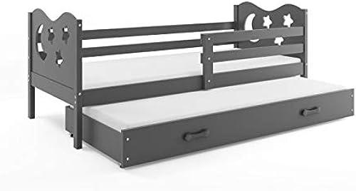 Interbeds Funktionsbett Miko 190x90cm Farbe  grau + 2. Farbe zur Wahl mit Lattenroste und Matratzen (grau)