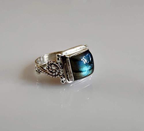 Anello in argento labradorite, anello in argento con labradorite blu fuoco, argento sterling 925, anello in argento, gioielli fatti a mano, dimensioni dal 6 al 31