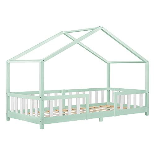 Cama para Niños de Madera Pino 207 x 97 x 138 cm Cama Infantil con Reja Protectora Casita Forma de casa Menta Verde Blanco Mate Lacado