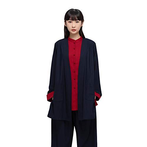 YXHUI Tai Chi Kleidung Weiblich Herbst und Winter Dicke Baumwolle und Leinen 3-teiliges Set Freizeit Zen Tai Chi Kung Fu Übungskleidung Männlich,DarkBlue-XLarge