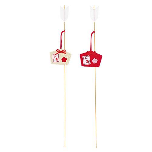 東京堂 正月 #レッド/ホワイト 絵馬サイズW4.7×H3.5/L30cm 紅白迎春ピック JP000144 4本入