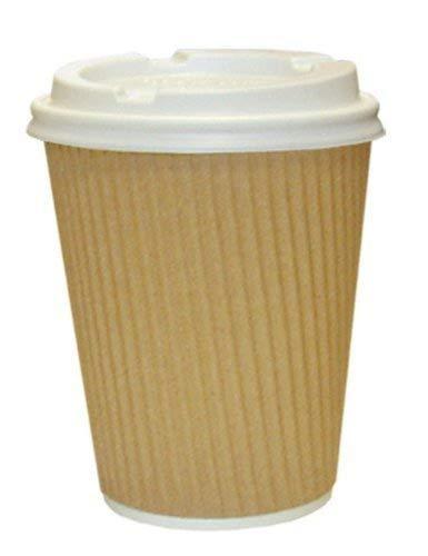 We Can Source It Ltd - Brown Kraft Ripple 16oz Paper Cups with Lids - Eco-Friendly 100% Recyclable - Great for Tea, Coffee, Hot Drinks Takeaway - 100 Pack