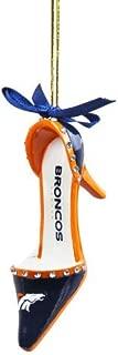 Team Sports America NFL Denver Broncos High Heel Shoe Christmas Ornament, Small, Multicolored