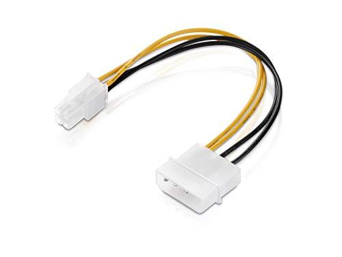 adaptare 35012 15 cm Netzteil Adapter-Kabel 4-polig ATX-Stecker an 4-pin Molex-Anschluss weiß