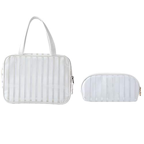 HEELPPO Cosmetic Bag Travel Organizer Transparent Storage Bag Ladies Handbag High Capacity Multifunctional Use Waterproof Suitable For Travel White,Set