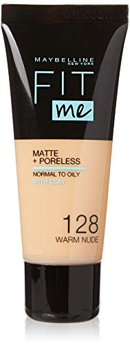 Maybelline New York - Fit Me, Base de Maquillaje Mate Afina Poros, Tono 128 Warm Nude - 30 ml