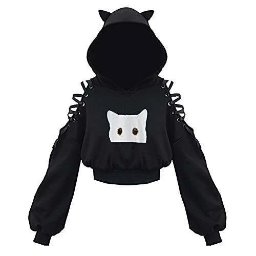 FMYONF Sudadera con capucha para mujer de Cat Ears, de manga larga, con cordones, estilo gtico, A-negro., XXXL
