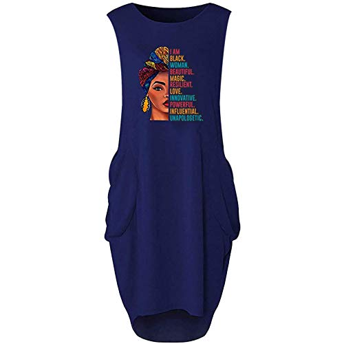 Vestido de mujer, maxivestido de noche, vestido estampado, corto, fiesta, cóctel, noche, bohemio, para verano, sin mangas, con cuello redondo, informal, de media pantorrilla.