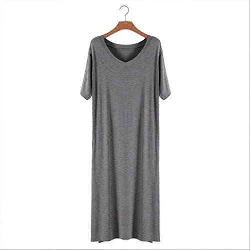 XFLOWR Zomer Dames V-hals Grote Maat Lange Jurk Vrouwen Nachtjapon Korte Mouw Comfort Modal Eenvoudige Stijl Casual Huiskleding Jurk
