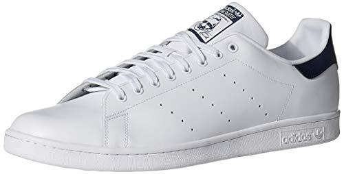 adidas Originals Men's Stan Smith Leather Sneaker, Core White/Core White/Dark Blue, 10