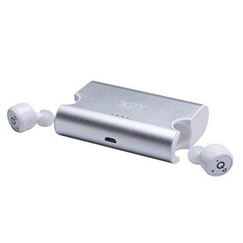 SETAYO X2T Mini Unsichtbare wirklich drahtlose Bluetooth V4.2 Stereo Surround Sound Ohrhörer In-Ear Kopfhörer mit Chargeing Box 1500mAh-Silber