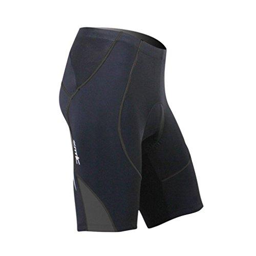SANTIC Cycling Men's Shorts Biking Bicycle Bike Pants Half Pants 4D COOLMAX Padded Black/Gray XL