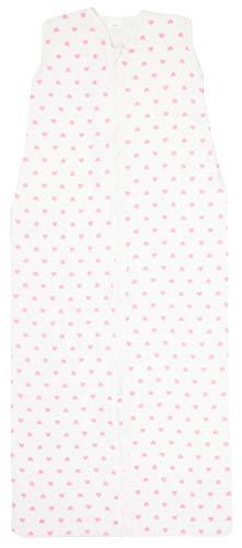 ZOLLNER Mädchen Schlafsack für den Sommer, Baumwolle 110 cm weiß/rosa Herzen