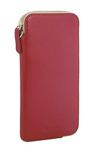 StilGut Handytasche aus echtem Leder mit Reißverschluss XL kompatibel mit iPhone 11 und Smartphones bis 6