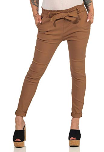 Hailys Damen Paperbag Stoffhose Bengi High-Waist Pants MF-6698 Camel L