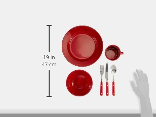 31cz57Kk3NL - Coleman 24-Piece Enamel Dinnerware Set, Red