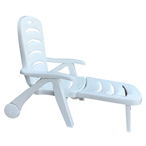 YERT Sillón Plegable con Ruedas, sillón, sillón Giratorio Ajustable, para Patio Junto a la Piscina, Patio Trasero, Playa (Blanco)
