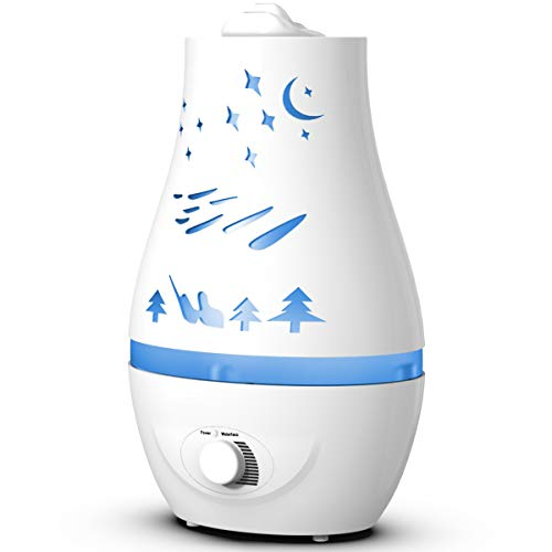 Humidifier - 2.2L Blue Personal Vaporizer, Portable Humidifiers for Bedroom, Apartment, Dorm, Office, Home, Nursery - Adjustable Mist, Automatic Water Shortage Protection, 360-Degree Rotation