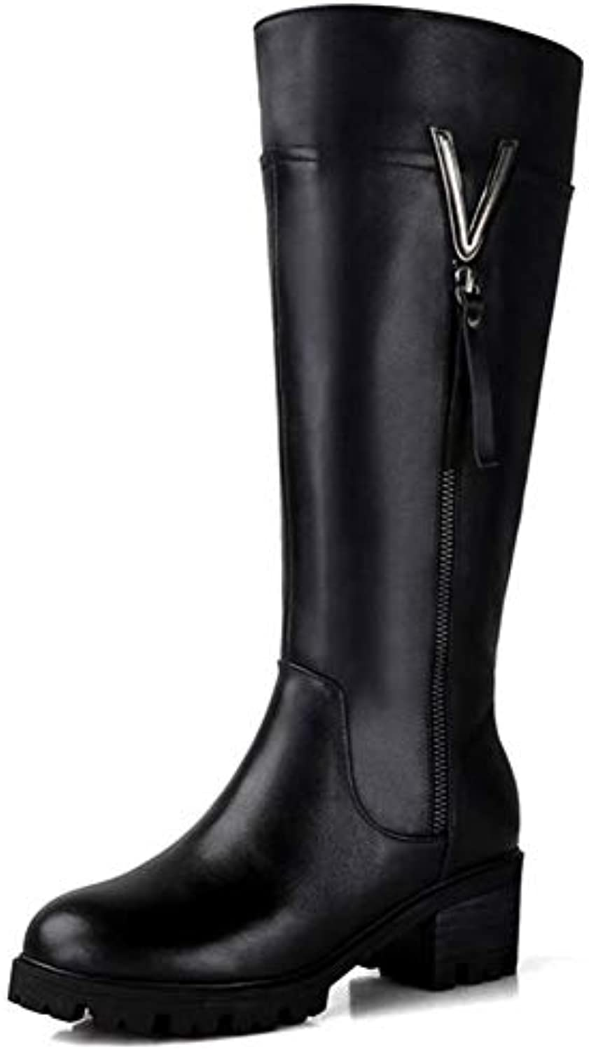 T-JULY Women's Knee High Boots Genuine Leather Natural Wool Boots Zipper Keep Warm Winter Snow Boots