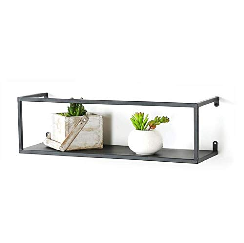 LLDBD Simple Shelf/Nordic Hierro Forjado Salón Dormitorio Simple Colgar de la Pared del Fondo de televisión Creativa estantería Negro (Tamaño: 55x20x25cm) (Size : 50x16x15cm)