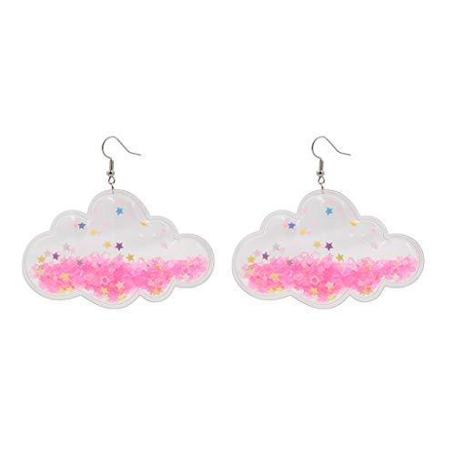 KLOVA Pendientes de Moda, Pendientes Colgantes de acrílico con Nubes de Estrellas Rosas románticas para Mujer, joyería Dulce