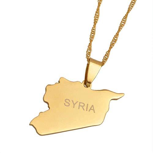 AOAOTOTQ Co.,ltd Collar de Color Dorado con Mapa de Siria, Collares con dijes para Mujeres, Hombres, niñas, joyería Siria de Oriente Medio, 60 cm