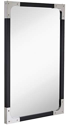 Hamilton Hills 24 x 36 Chrome Accented Black Frame Wall Mirror - -