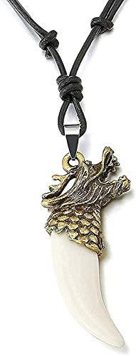 Collar con colgante de colmillo de cuerno de dragón de bronce para hombre con cuero ajustable y cordón de acrílico blanco