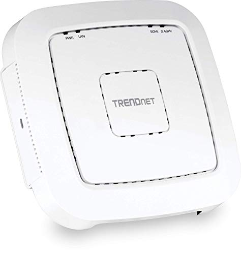 TRENDnet AC1200 Dual Band PoE Access Point, TEW-821DAP, MU-MIMO, 867 Mbps WiFi AC+ 300 Mbps WiFi N Bands, Client Bridge, Access Point, Repeater Modes, Gigabit PoE LAN Port, Captive Portal for Hotspot