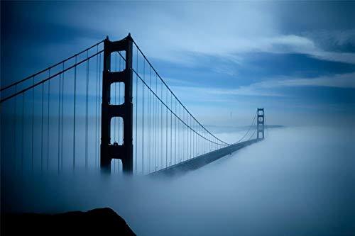 KCHUEAN 1000-Teilige Puzzles Für Erwachsene Golden Gate Bridge Fog Wooden Assembling Decoration Für Das Heimspielzeugspiel Lernspielzeug Für Kinder Und Erwachsene