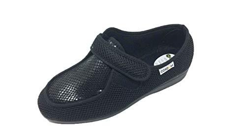 Zapatilla de Calle/De Mujer/Ancho Especial/Cosdam/Cierre fácil/Suela de Goma/Cuña 3 cms/Color: Negro/Talla 40