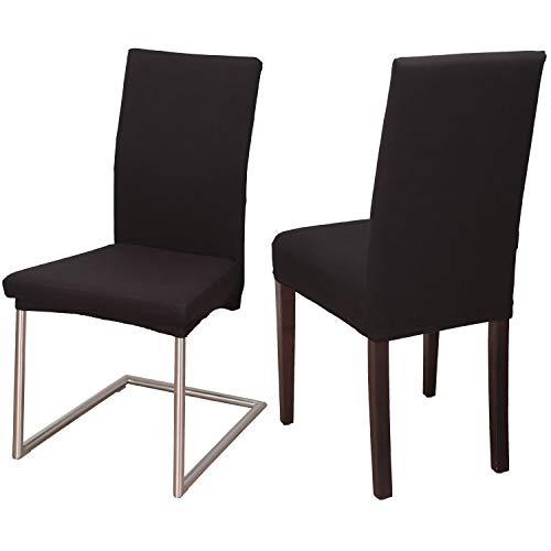 Staboos Stuhlhussen 2er Set aus 96% Baumwolle - Bi-elastische Stretch Stuhlüberzüge - Universal Stuhlbezug - Stuhlabdeckung waschbar & bügelfrei, Schwarz